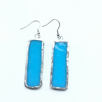 Bright, turquoise, stained glass earrings. Bold and quirky earrings.