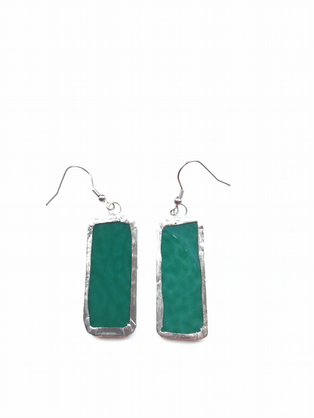Rich, emerald green, stained glass earrings. Quirky earrings.