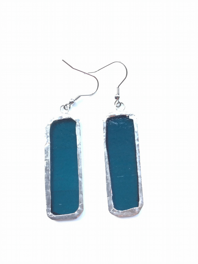 Pretty, teal blue, clear, stained glass earrings. Quirky earrings!