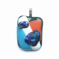 Funky,bright, fused glass pendant. Makes for a succulent necklace.
