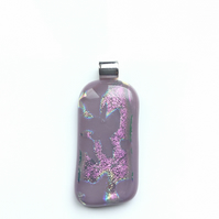 Bold, pinky purple, fused glass pendant. Makes for a succulent necklace.