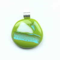 Lime green, fused glass pendant. Makes for a succulent necklace.