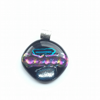 Quirky, fused dichroic glass pendant. Makes for a succulent necklace.
