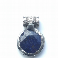 Quirky necklace! Natural, cloudy, dark blue, round sapphire pendant. Set with Ti