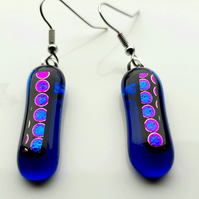 Blue dot, vibrant, fused glass, dichroic, dangle, aesthetic earrings which are q
