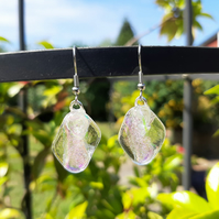Pretty, clear glass and rainbow dichroic earrings. Quirky earrings with a mystic