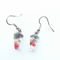Pretty, cherry blossom, quirky earrings. Kite shape makes these different earrin