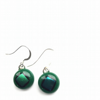 Quirky earrings, mid green and blue dichroic glass. Slight mismatch on the glass