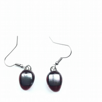 Vibrant, raspberry and silver, dichroic glass, aesthetic earrings. The uncommon