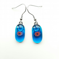 Pretty, blue, fused glass earrings. Aesthetic and quirky earrings