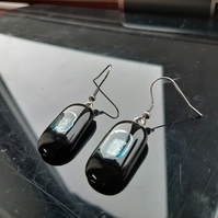 Luscious, midnight blue and silver, fused glass earrings. Aesthetic and quirky.