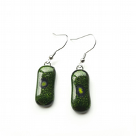 Beautiful, sparkling, green, fused glass earrings. Succulent and quirky earrings
