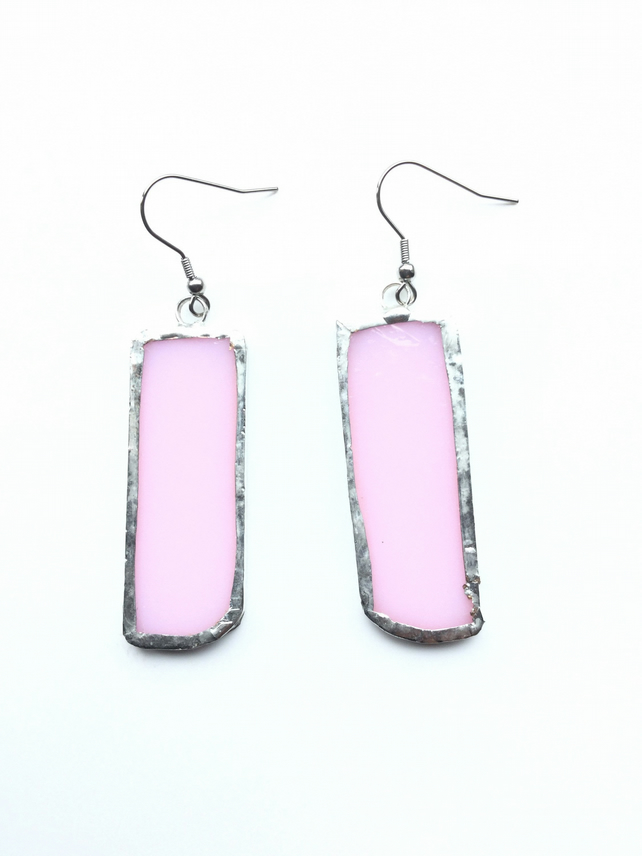 Beautiful, pink, stained glass earrings. Bold and quirky earrings.