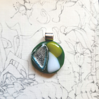 One of a kind, green and silver, dichroic, fused glass pendant. Quirky necklace.