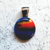 "Pretty rainbow, ""flag"" oval fused glass pendant. Aesthetic and quirky necklace."