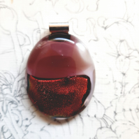 Luscious, large, oval, cherry red bottom, fused glass pendant. Quirky pendant!