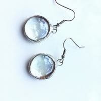 Pretty, clear, glass cabochon, oval drop earrings. Different earrings. Tiffany s