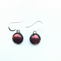 Cherry dichroic on black, quirky earrings. Autumnal colours in these aesthetic e