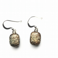 Gorgeous, gold, dichroic glass, succulent earrings. Colour shifting, simple but