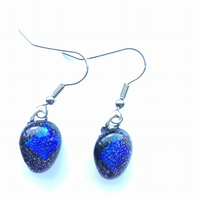 Vibrant, dichroic, blue and purple, teardrop, fused glass, aesthetic earrings, w