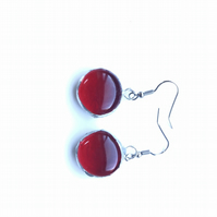Bright Red, glass drop, quirky earrings. Vibrant, aesthetic earrings.