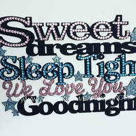 Bling personalised sweet dreams sleep tight love you and goodnight wall sign