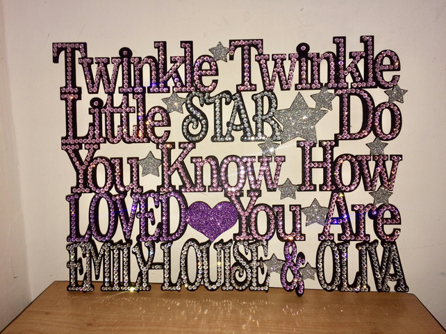 Bling twinkle twinkle little star sparkle sign