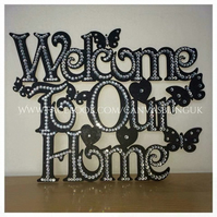 Bling Welcome to our home wall sign