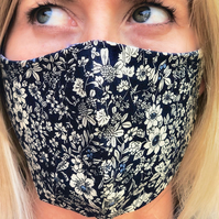 Reusable, Reversible, 100% Cotton Face Mask with Adjustable Elastic Attachments