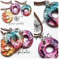 Handmade donut pendant necklace Faux leather cord Resin potion circle choker