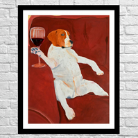 Beagle wine time wall art print of my original oil painting