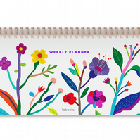 White Weekly Daily Undated Desk Planner Hardcover Spiral