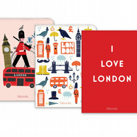 Set Of 3 - Notebooks, London Notebook, 2 Lined and 1 Plain Notebook