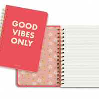 Good Vibes Only Notebook - Inspiration - Lined- Hardcover - Spiral