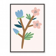 Blue & Pink Flowers Print, Pastel Colours Wall Art, Floral Poster