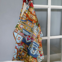 Cotton Printed Canvas Origami Market Bag, Eco Market Bag, All purpose Origami Ec