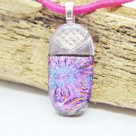 Pink and purple flower burst fused glass pendant - faux leather chain - fused gl