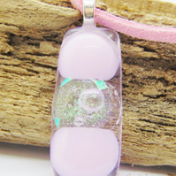 Pastel pink dots fused glass pendant - faux leather chain - fused glass necklace