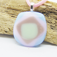 Pastel coloured fused glass pendant - faux leather chain - fused glass necklace