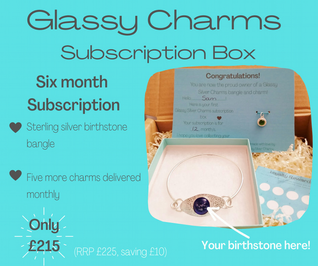 Birthstone Charm Bangle Subscription Box - Six Month - Jewellery Subscription -