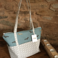 Gorgeous dachsund blue with grey with white star straps & pockets
