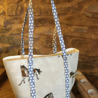 Gorgeous horse open tote bag with blue & white spotted straps