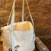 Gorgeous horse open tote bag with sage green & white spotted straps