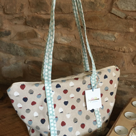 Strawberry zipped handbag, ideal present for nature lovers