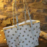 Gorgeous bees style open tote bag, ideal present for bee lovers