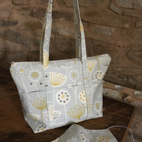 Gorgeous scandi style grey and mustard zipped bag with matching mask
