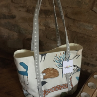 Gorgeous funky animal open tote bag, present for hedgehog, fox, deer, nature