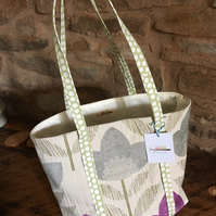 Gorgeous velvety floral - green straps with white spotted straps open tote bag