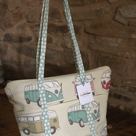 Gorgeous funky camper van with seafoam blue with white spot straps-zipped bag