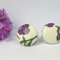 Liberty Button Cufflinks - Tana Lawn Fabric with Purple Pansy